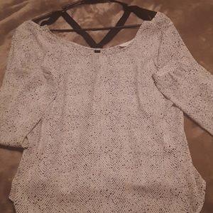 Lush brand criss cross back ,black n white blouse